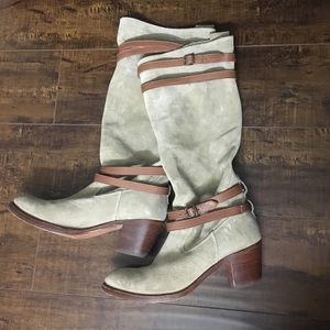 Frye Jane Strappy Suede Knee High Boots 9.5B